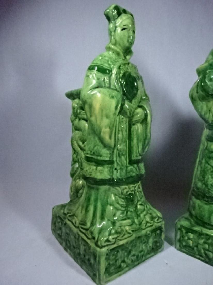 2 CHINESE PORCELAIN TABLE LAMP BASES, MAN AND WOMAN - 2