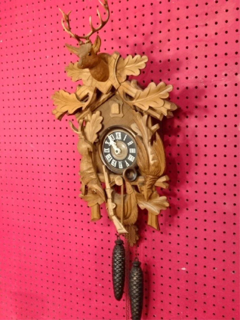 CARVED WOOD CUCKOO CLOCK WITH STAG AND GAME MOTIF, VERY - 2