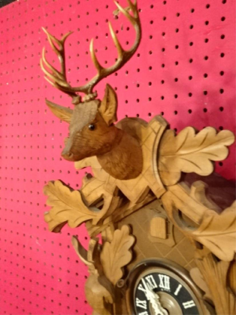 CARVED WOOD CUCKOO CLOCK WITH STAG AND GAME MOTIF, VERY - 3