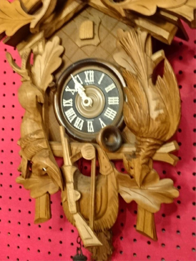 CARVED WOOD CUCKOO CLOCK WITH STAG AND GAME MOTIF, VERY - 4