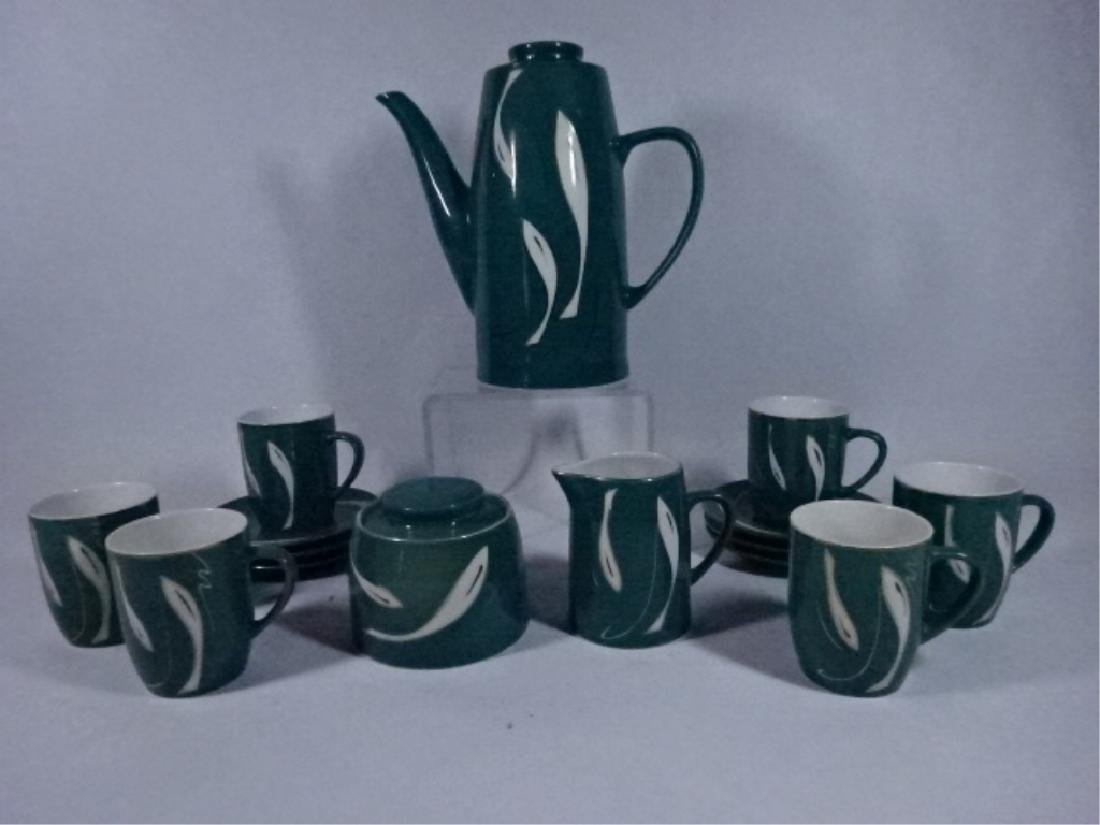 15 PC PORCELAIN COFFEE SERVICE, GREEN AND WHITE