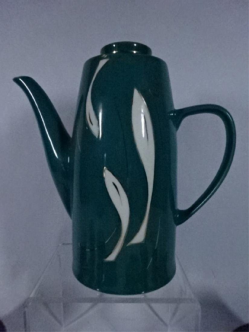 15 PC PORCELAIN COFFEE SERVICE, GREEN AND WHITE - 2