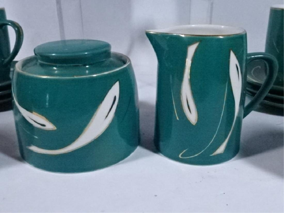 15 PC PORCELAIN COFFEE SERVICE, GREEN AND WHITE - 4