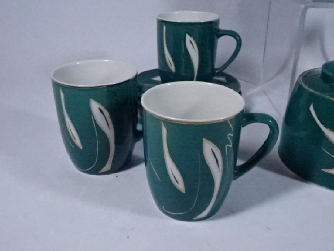 15 PC PORCELAIN COFFEE SERVICE, GREEN AND WHITE - 5