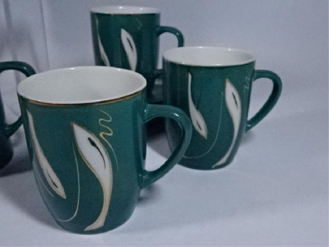 15 PC PORCELAIN COFFEE SERVICE, GREEN AND WHITE - 6