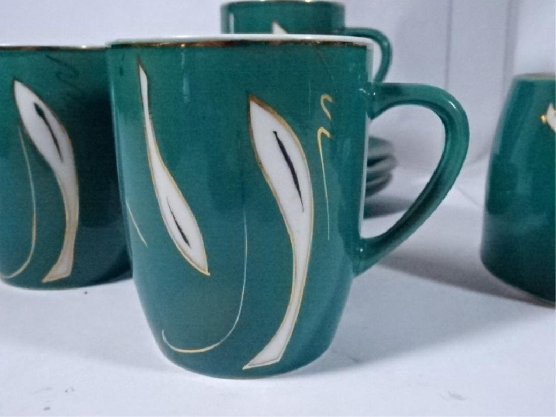 15 PC PORCELAIN COFFEE SERVICE, GREEN AND WHITE - 7
