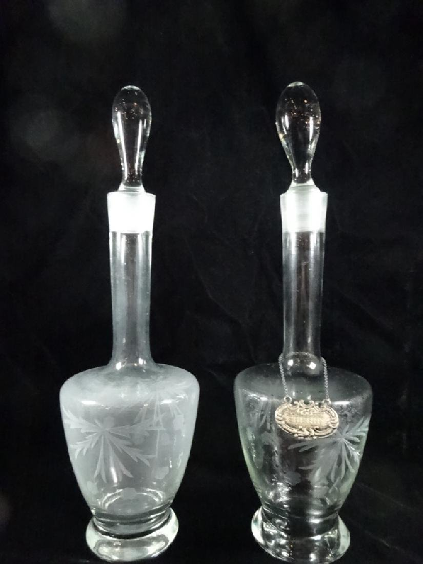 2 PC ETCHED CRYSTAL DECANTERS WITH STOPPERS, APPROX