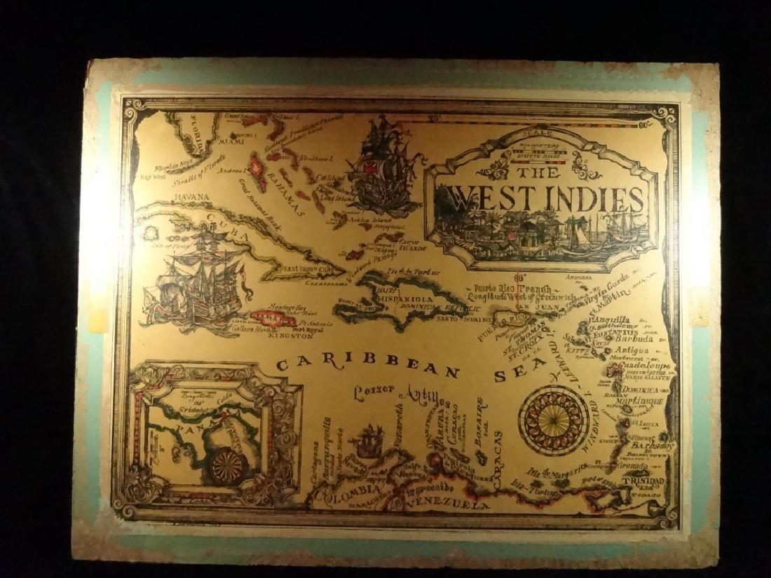 VINTAGE WEST INDIES / CARIBBEAN SEA MAP MOUNTED ON