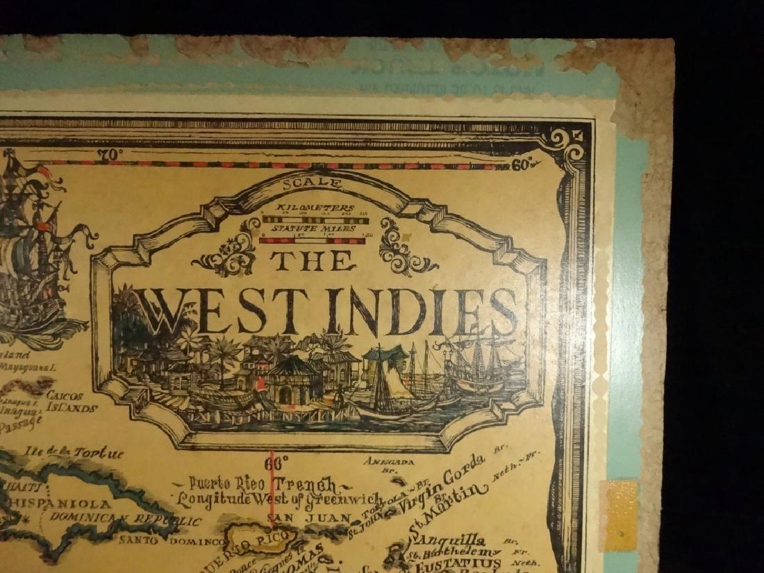 VINTAGE WEST INDIES / CARIBBEAN SEA MAP MOUNTED ON - 2