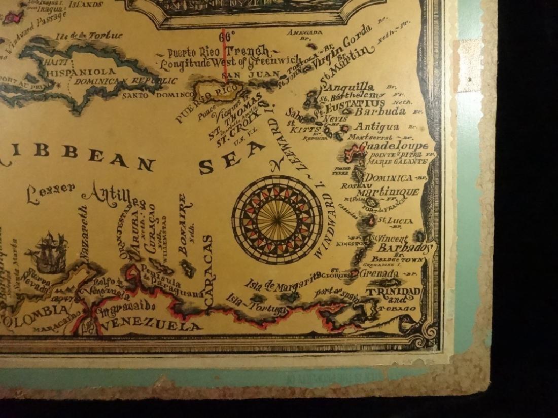 VINTAGE WEST INDIES / CARIBBEAN SEA MAP MOUNTED ON - 4