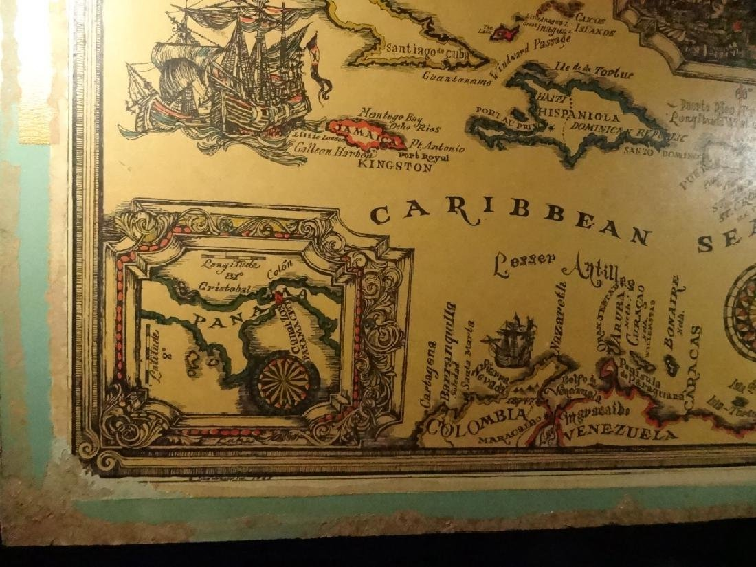 VINTAGE WEST INDIES / CARIBBEAN SEA MAP MOUNTED ON - 5