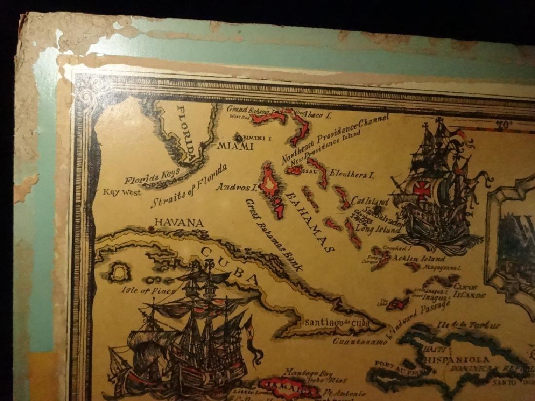 VINTAGE WEST INDIES / CARIBBEAN SEA MAP MOUNTED ON - 6