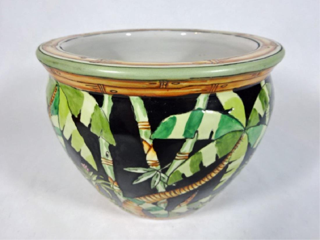 PORCELAIN PLANTER / JARDINERE WITH PAINTED PALMS, VERY