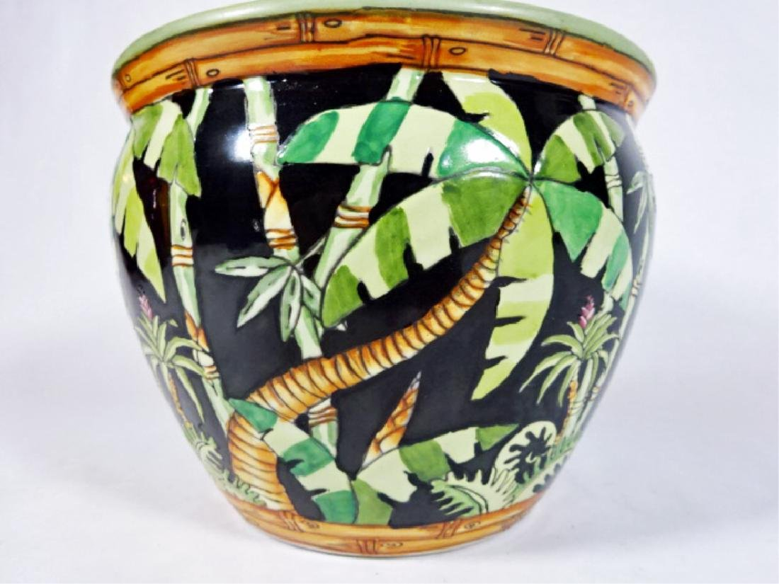 PORCELAIN PLANTER / JARDINERE WITH PAINTED PALMS, VERY - 2
