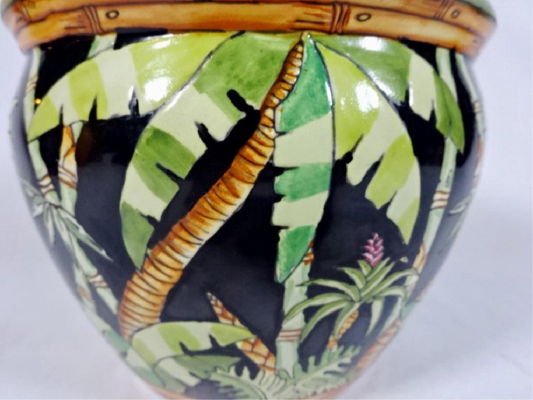 PORCELAIN PLANTER / JARDINERE WITH PAINTED PALMS, VERY - 3