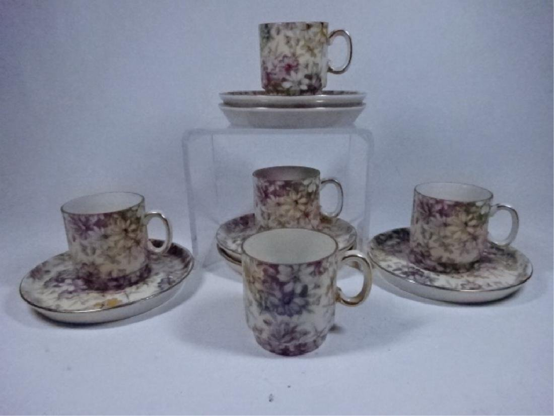 11 PC PORCELAIN ESPRESSO CUPS AND SAUCERS, FLORAL
