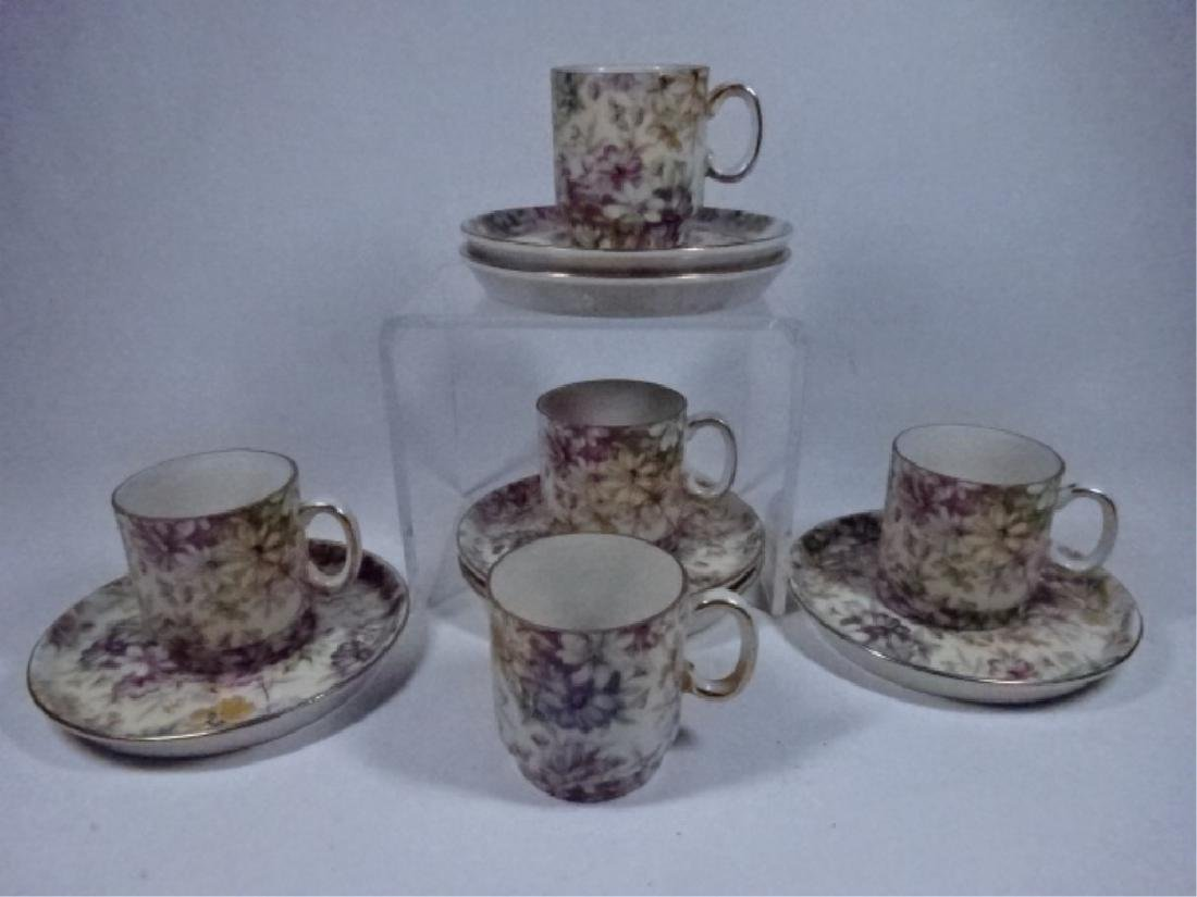 11 PC PORCELAIN ESPRESSO CUPS AND SAUCERS, FLORAL - 2