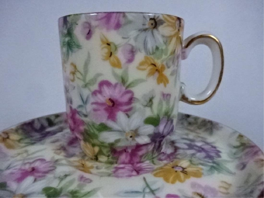 11 PC PORCELAIN ESPRESSO CUPS AND SAUCERS, FLORAL - 3