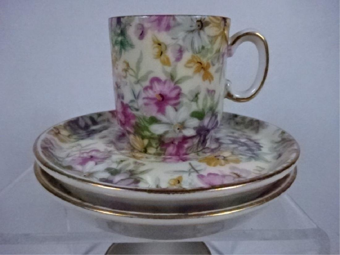 11 PC PORCELAIN ESPRESSO CUPS AND SAUCERS, FLORAL - 4