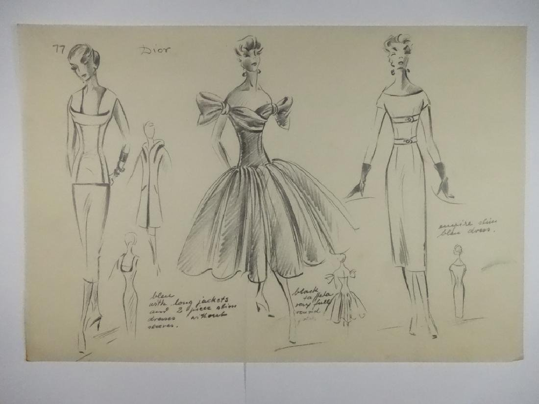 VINTAGE FASHION DRAWING, PENCIL ON TRACING PAPER, DIOR, - 5