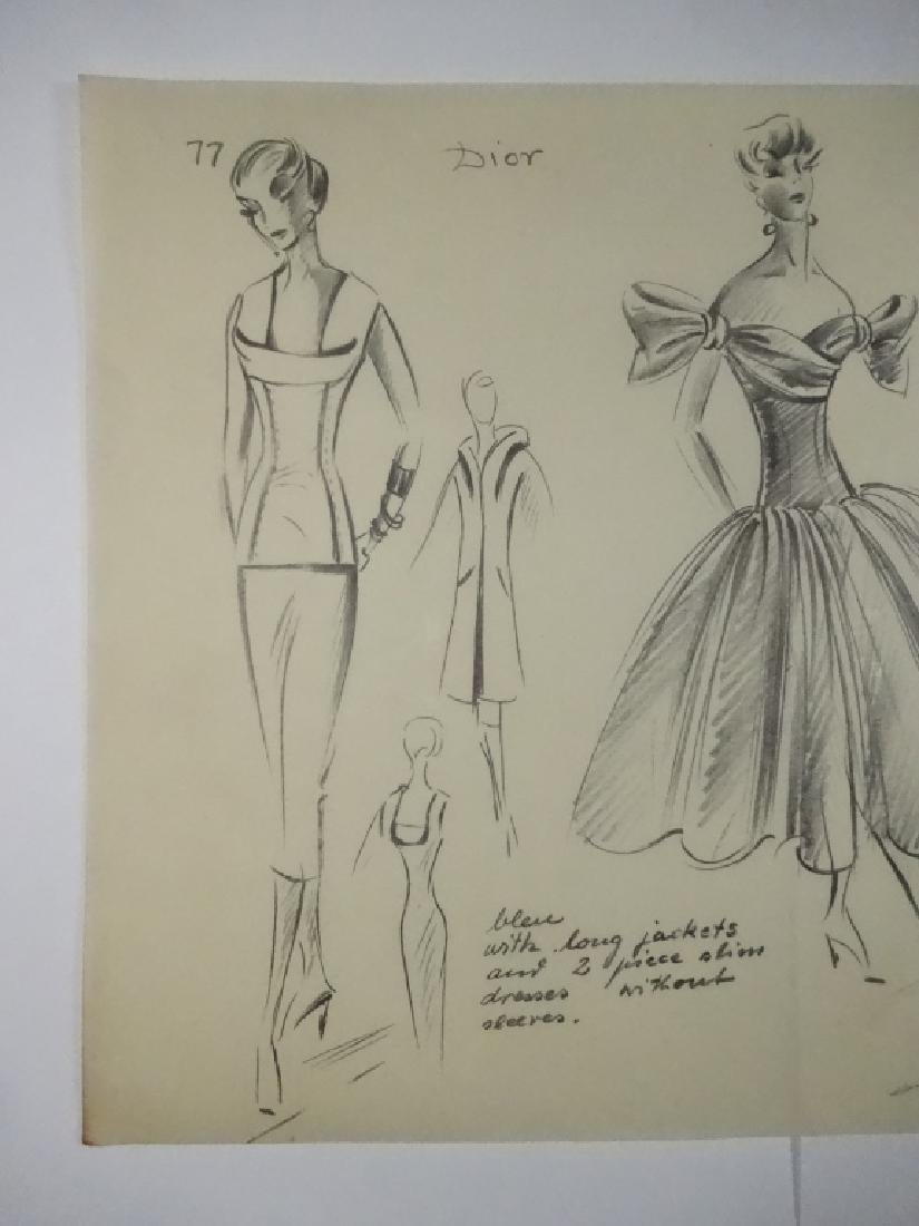VINTAGE FASHION DRAWING, PENCIL ON TRACING PAPER, DIOR, - 7