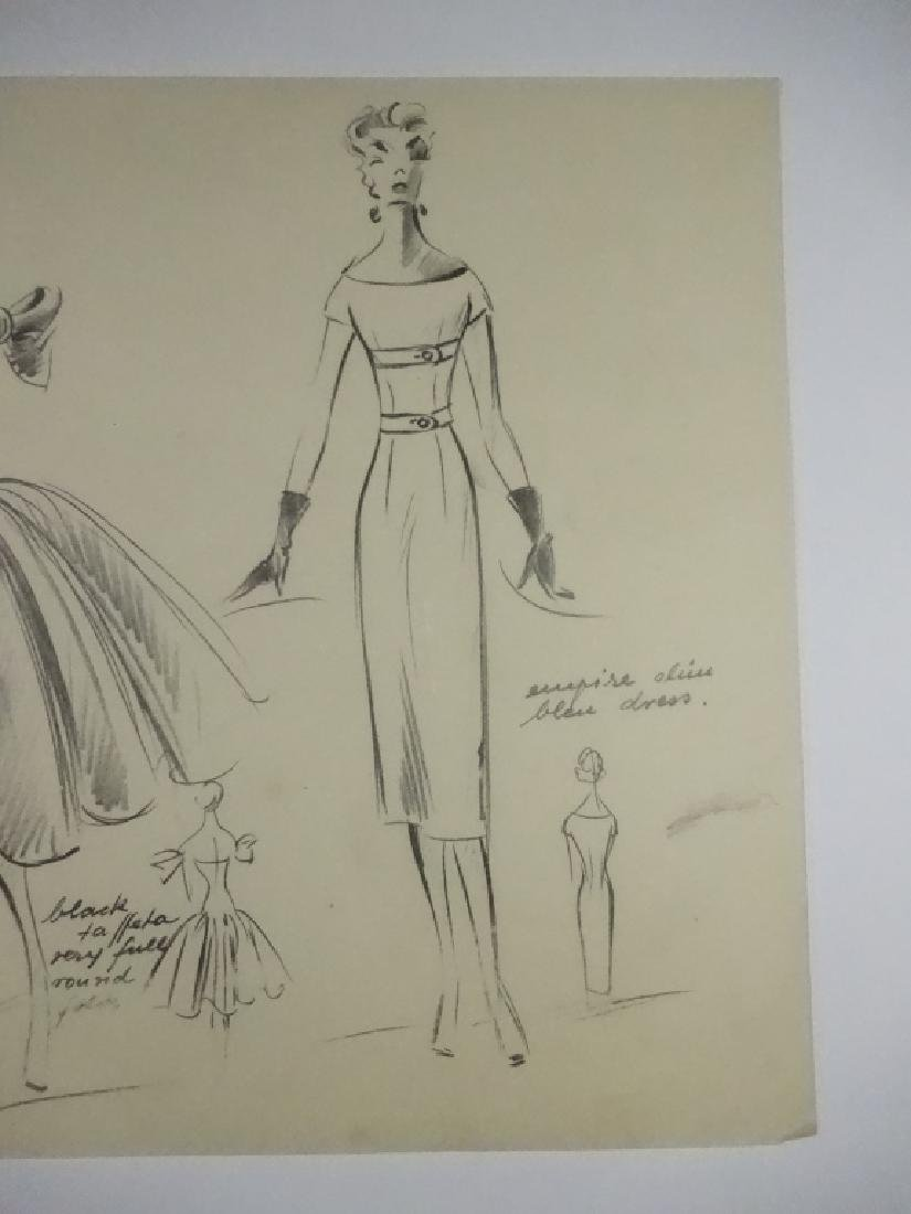VINTAGE FASHION DRAWING, PENCIL ON TRACING PAPER, DIOR, - 9