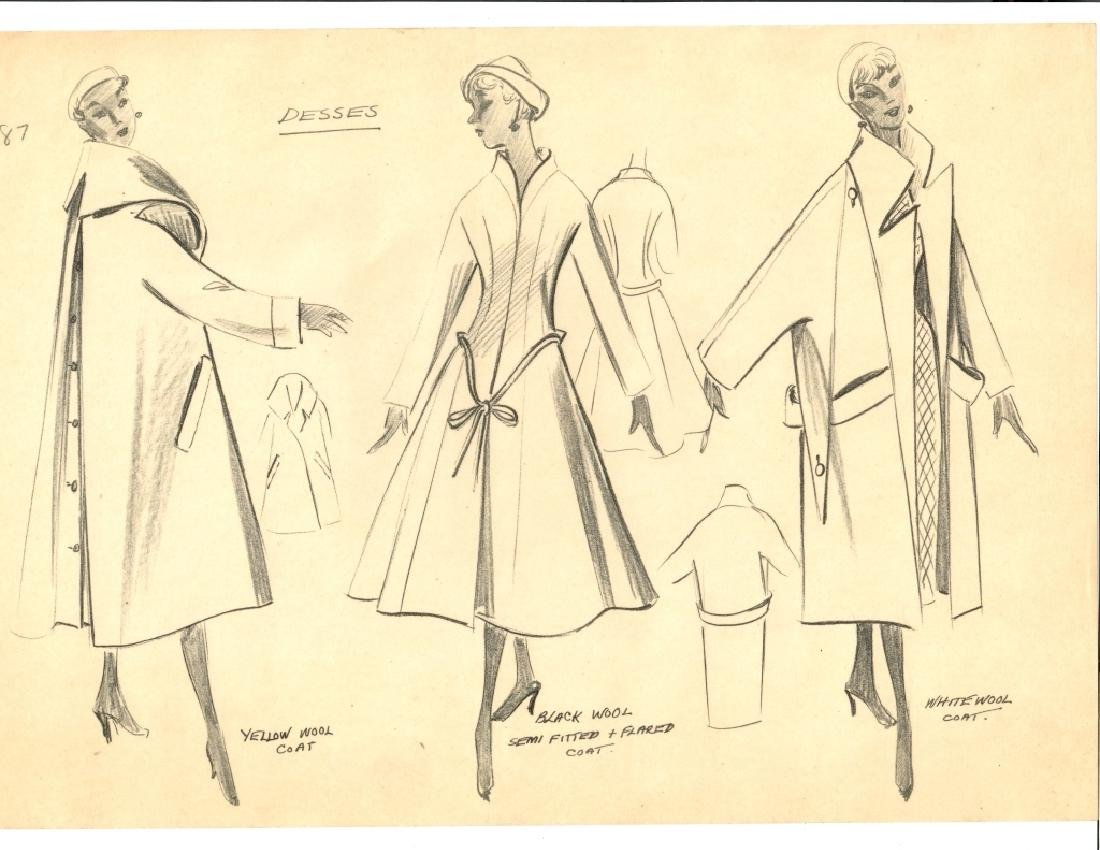 VINTAGE FASHION DRAWING, PENCIL ON TRACING PAPER,