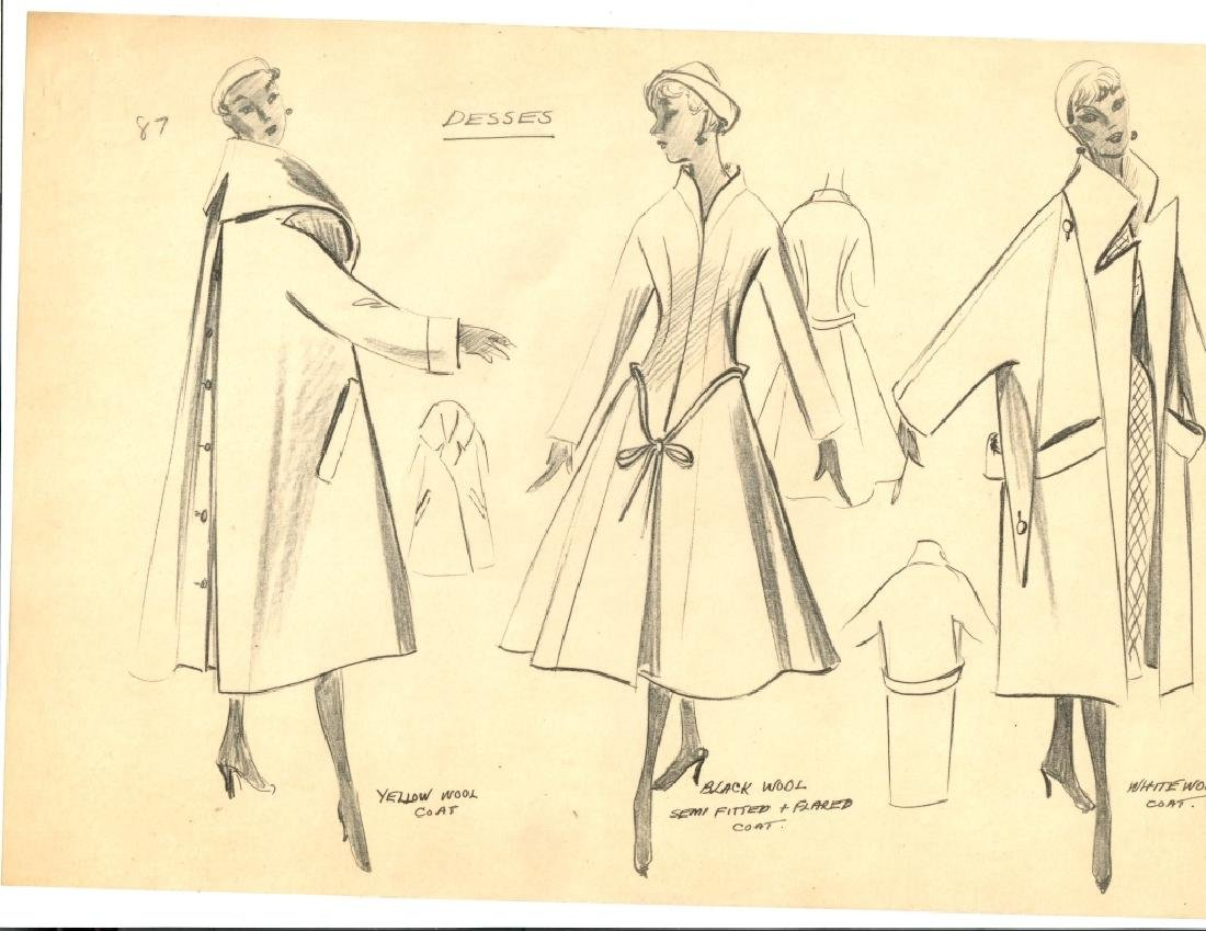 VINTAGE FASHION DRAWING, PENCIL ON TRACING PAPER, - 2