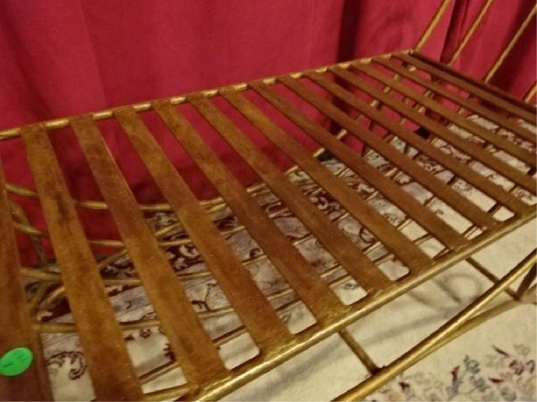 METAL BENCH WITH SCROLLING ARMS, GOLD FINISH, VERY GOOD - 3