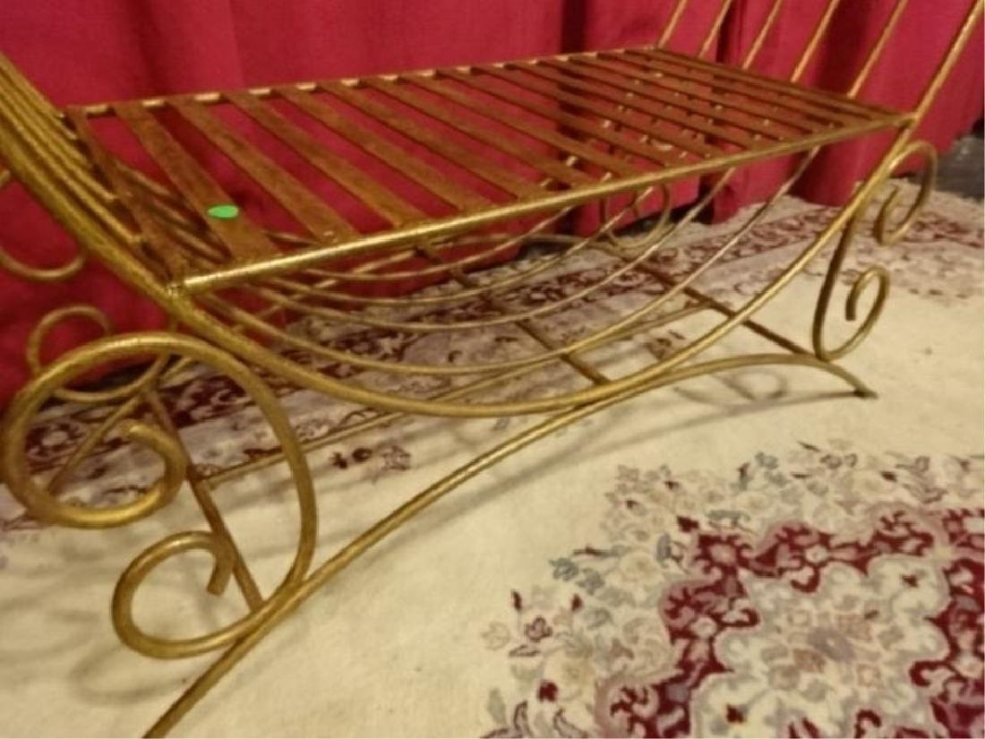 METAL BENCH WITH SCROLLING ARMS, GOLD FINISH, VERY GOOD - 4