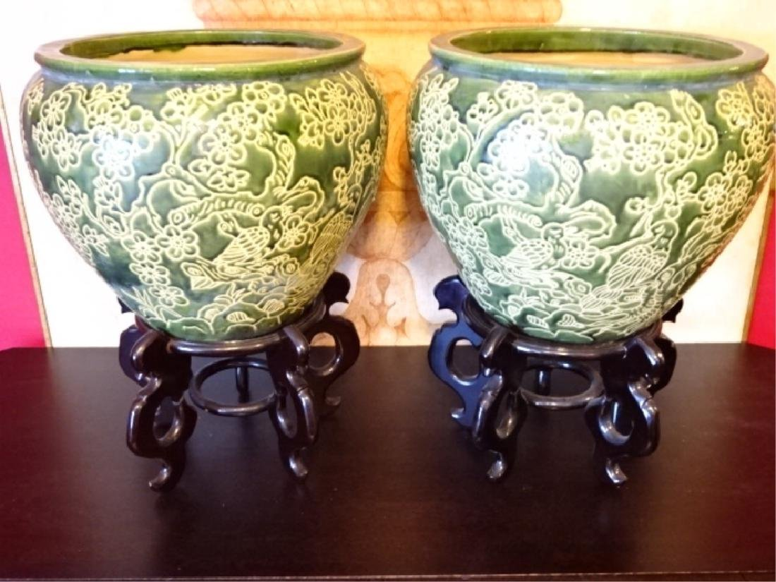 PAIR LARGE CERAMIC JARDINERES / PLANTERS, GREEN AND