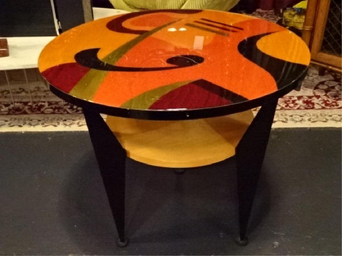 BENJAMIN LE SIGNED SIDE TABLE WITH UNDERTIER, STAINED - 2