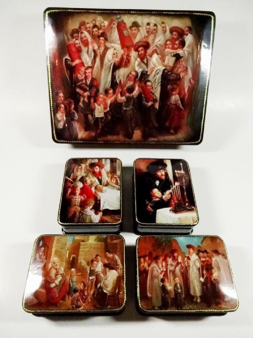 5 PC RUSSIAN HAND PAINTED LACQUERED BOXES, JUDAICA