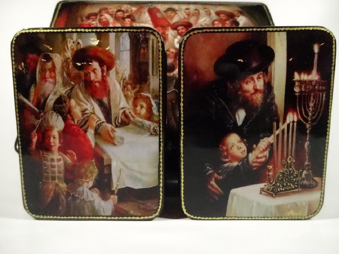 5 PC RUSSIAN HAND PAINTED LACQUERED BOXES, JUDAICA - 3