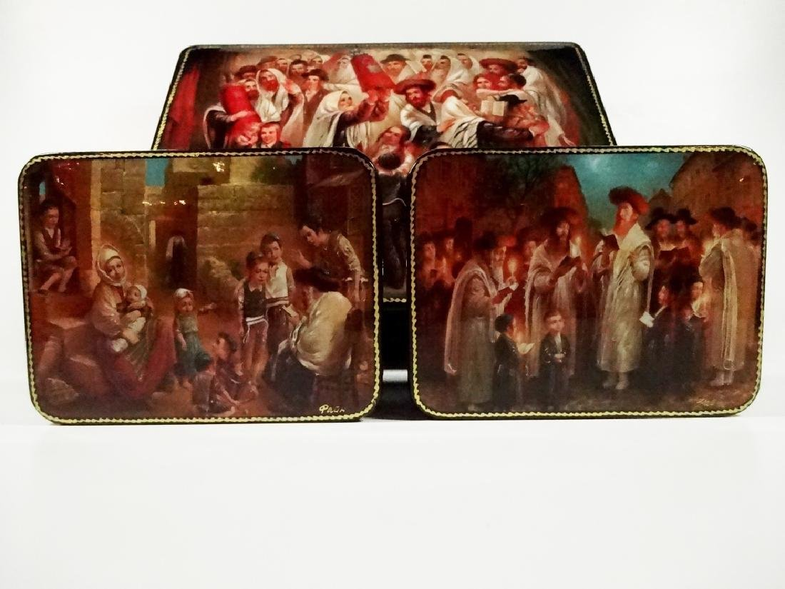 5 PC RUSSIAN HAND PAINTED LACQUERED BOXES, JUDAICA - 4