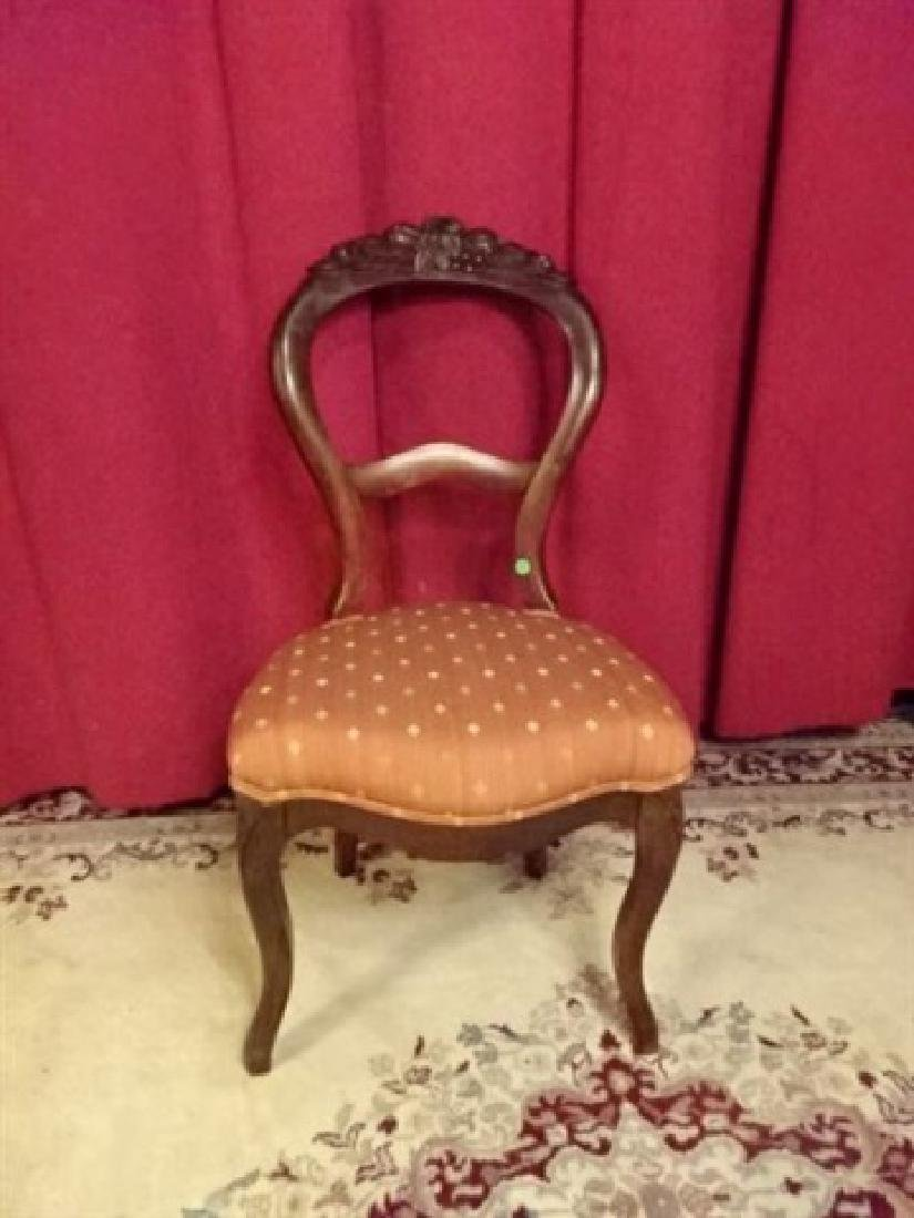 ANTIQUE VICTORIAN PARLOR CHAIR, BLUSH UPHOLSTERY, VERY - 2