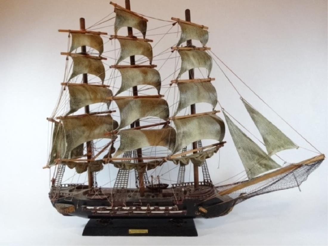 WOODEN SHIP MODEL, SPANISH FRIGATE, WITH PLAQUE THAT