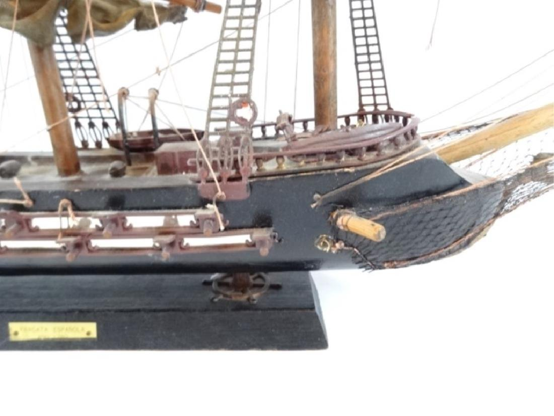 WOODEN SHIP MODEL, SPANISH FRIGATE, WITH PLAQUE THAT - 2