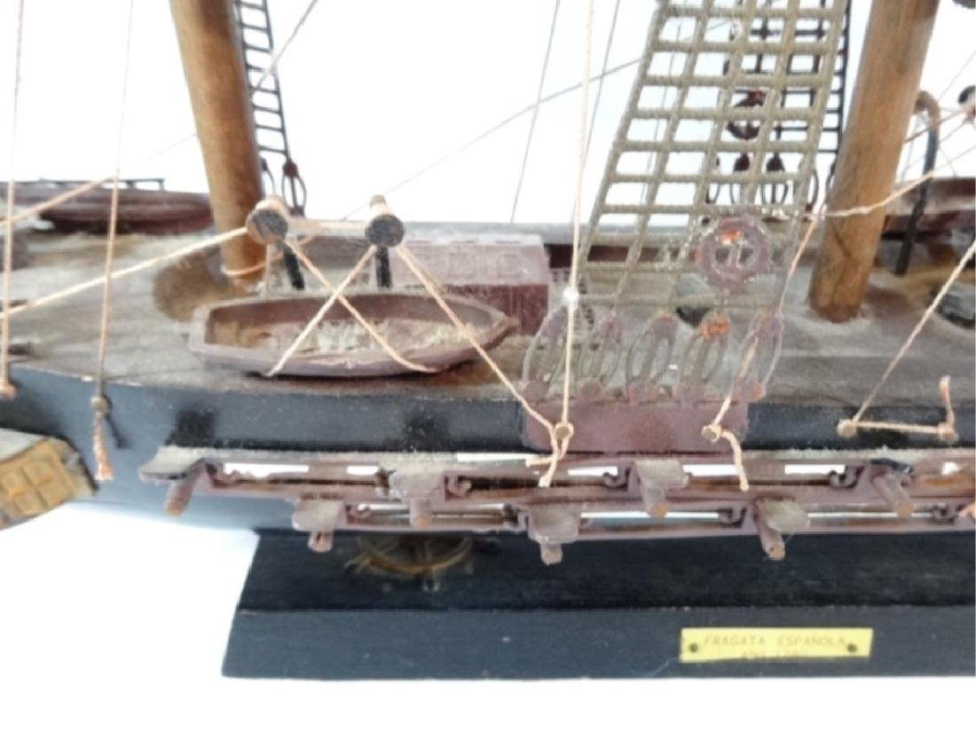 WOODEN SHIP MODEL, SPANISH FRIGATE, WITH PLAQUE THAT - 4