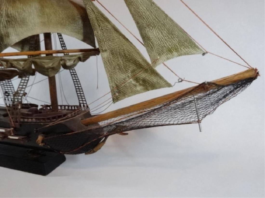 WOODEN SHIP MODEL, SPANISH FRIGATE, WITH PLAQUE THAT - 6