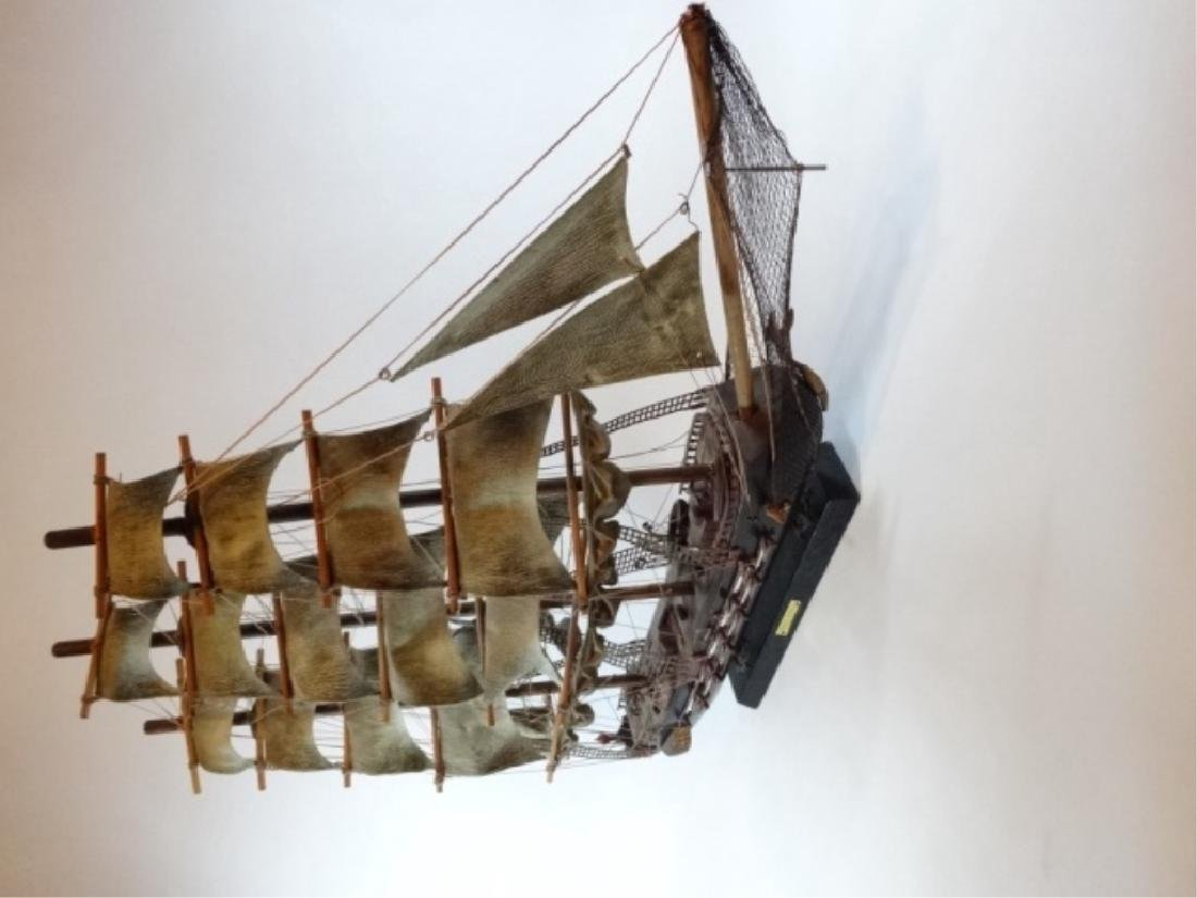 WOODEN SHIP MODEL, SPANISH FRIGATE, WITH PLAQUE THAT - 7