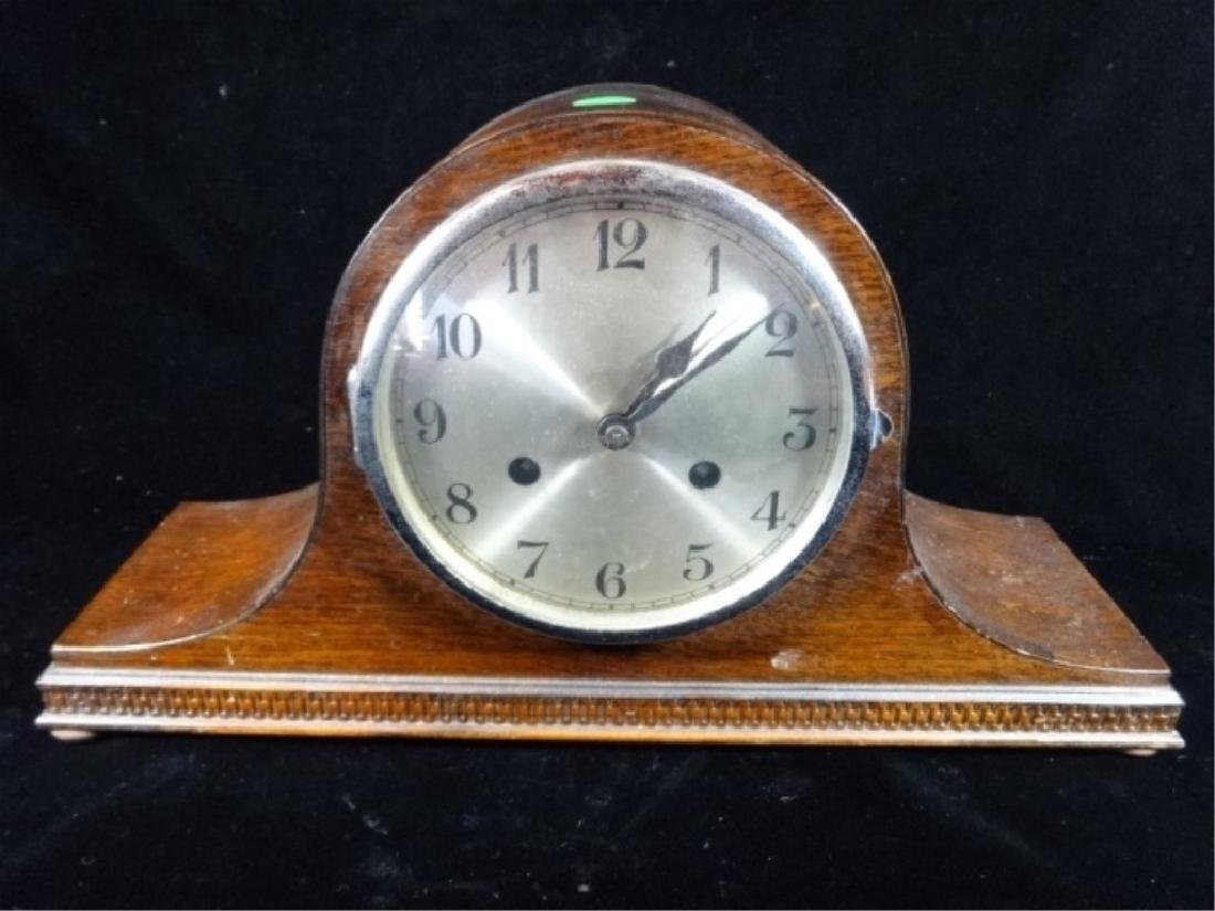 "MANTEL CLOCK, APPROX 9"" X 17"" X 5"""