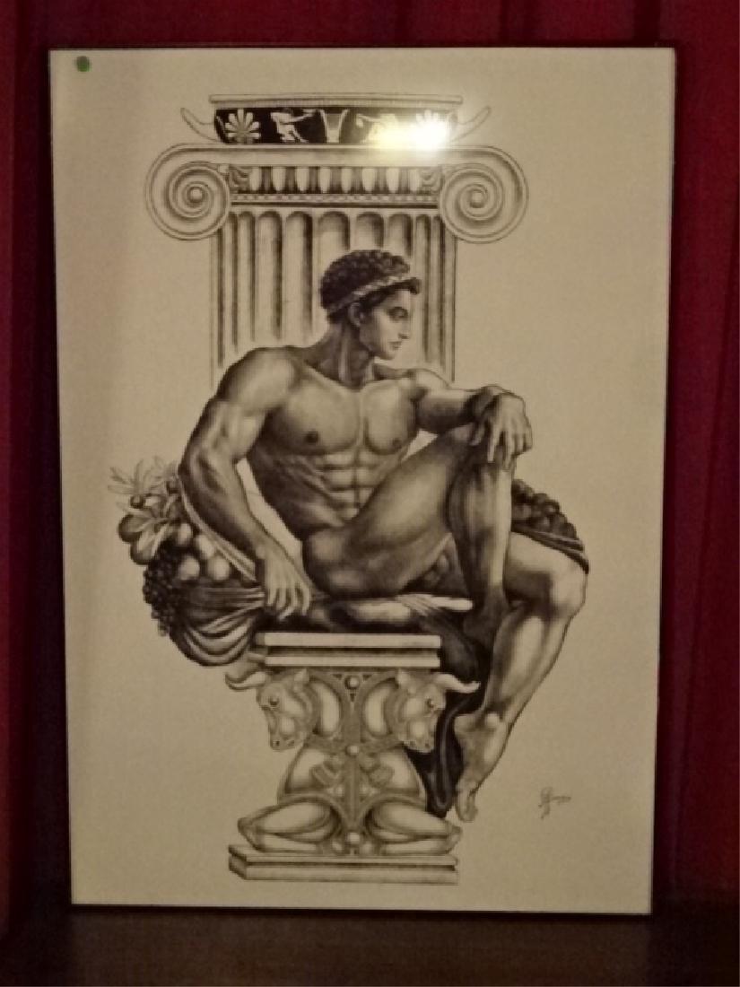 LARGE ALBERT CARUS PRINT, DEPICTING GREEK GOD APOLLO,