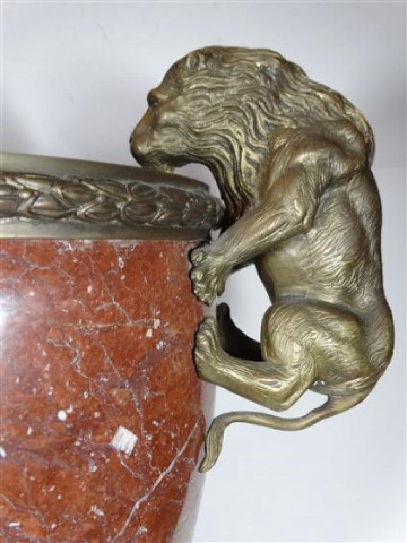 LARGE RED MARBLE AND BRONZE URN, LION HANDLES, SQUARE - 2