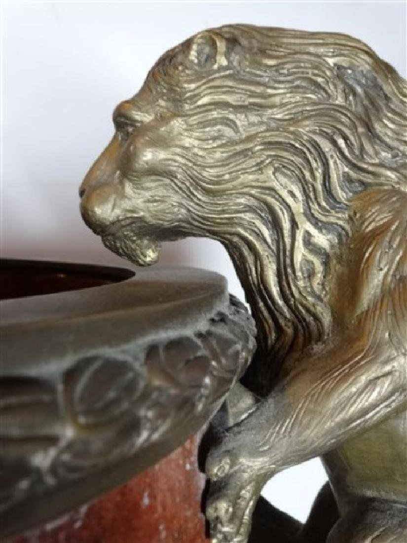 LARGE RED MARBLE AND BRONZE URN, LION HANDLES, SQUARE - 3