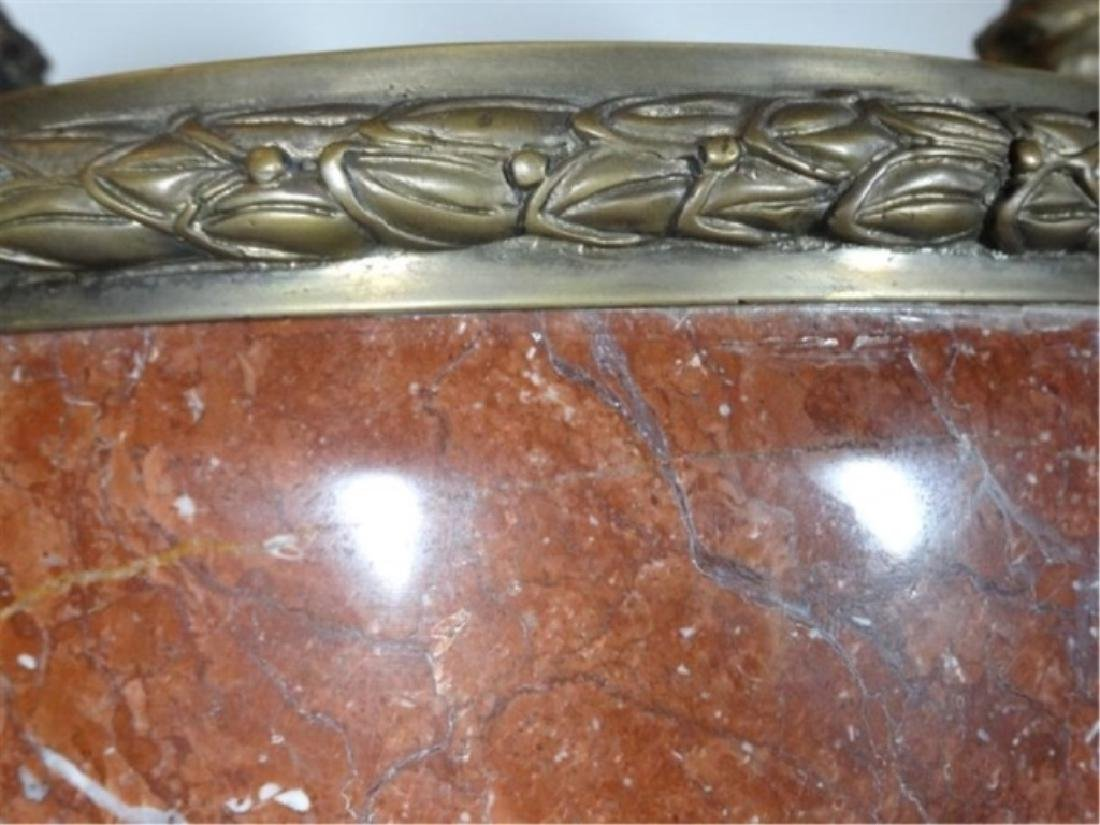 LARGE RED MARBLE AND BRONZE URN, LION HANDLES, SQUARE - 4