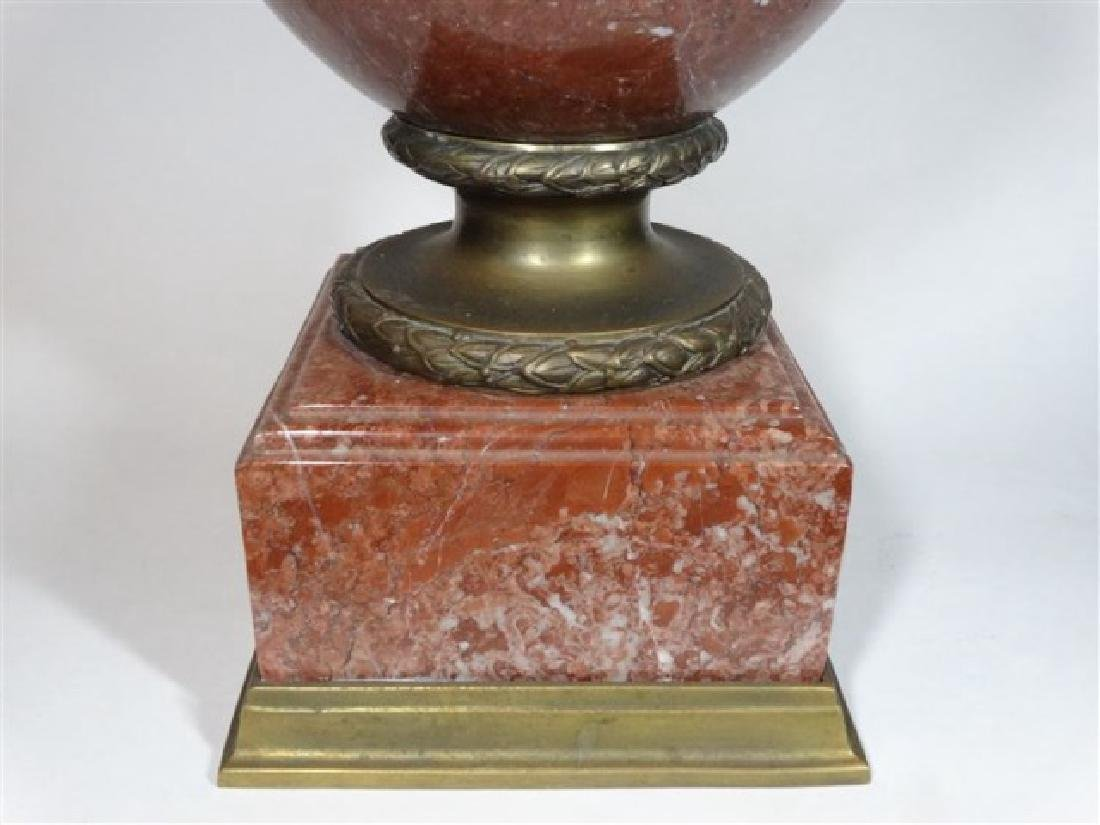 LARGE RED MARBLE AND BRONZE URN, LION HANDLES, SQUARE - 5