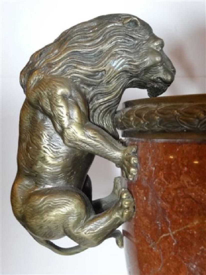LARGE RED MARBLE AND BRONZE URN, LION HANDLES, SQUARE - 6