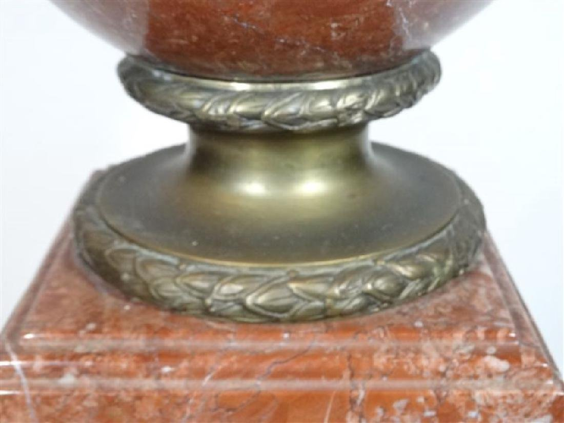 LARGE RED MARBLE AND BRONZE URN, LION HANDLES, SQUARE - 7
