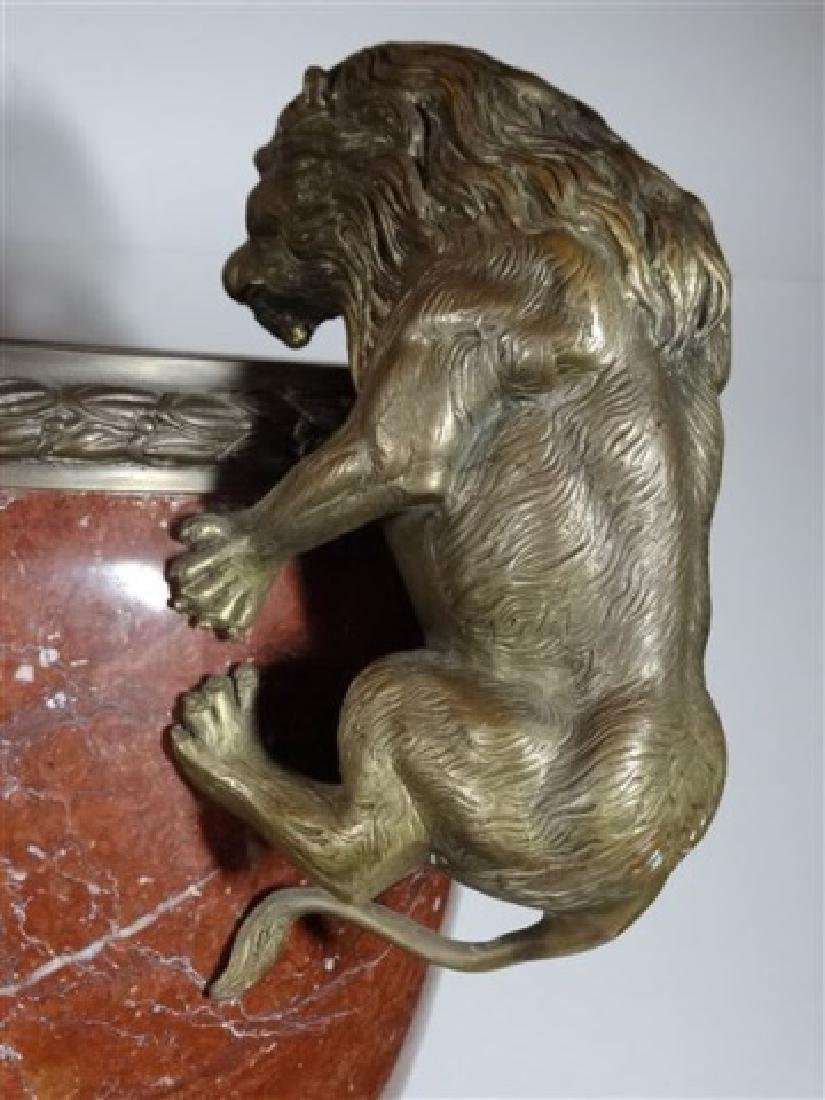LARGE RED MARBLE AND BRONZE URN, LION HANDLES, SQUARE - 8